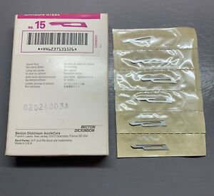 Box Of 130 Bard parker No 15 Rib back Carbon Steel Non sterile Surgical Blades