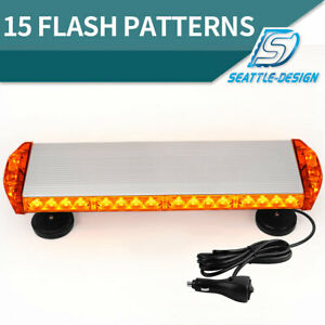 38w Amber Emergency Mini Led Light Bar Magnetic Roof Mount Strobe Light Bar