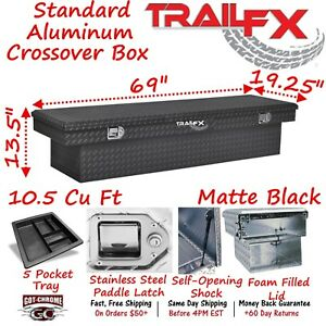 110703 Trailfx 69 Matte Black Aluminum Crossover Truck Tool Box Single Lid