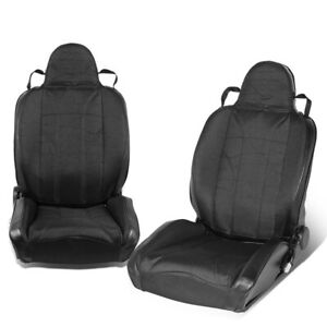 Pair Of Full Reclining Black Stripe Woven Fabric Sport Style Bucket Racing Seat