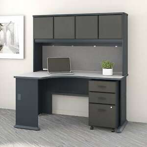 Series A Left Corner Desk With Hutch And Mobile File Cabinet In Slate