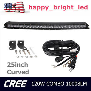 25inch 120w Cree Led Bar Light Single Row Curved Combo Offroad Truck Ute wiring