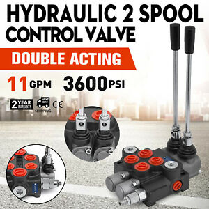 2 Spool Hydraulic Directional Control Valve 11gpm Double Acting Cylinder 40 L