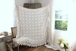 Vintage French Hand Made Bed Cover Coverlet Crochet Cotton 81x76 Gorgeous
