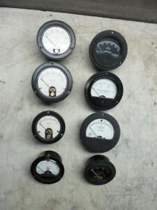 8 Vintage Panel Ac dc Electrical Meters Various Sizes Round In Shape