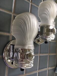 Art Deco Chrome White Frosted Slip Shade Glass Bath Hall Wall Sconces Antique