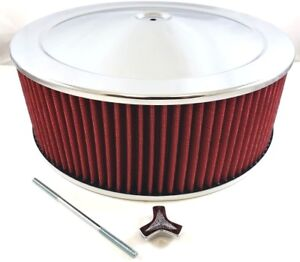14 X 5 Chrome Steel Performance Air Cleaner Kit W Washable Red Filter 14x5