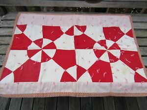 Primitive Antique 1880 S Table Or Doll Quilt Turkey Red White