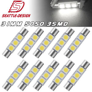 10x 31mm 5050 Fuse Led Sun Visor Vanity Mirror Light Interior Bulbs 6641 6614f