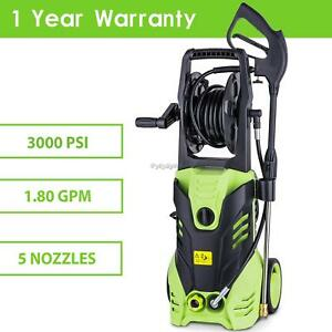 1800w 3000psi 1 8gpm Electric High Pressure Cleaner Reel Style Cleaning portable