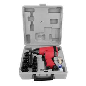 17pc 1 2 Twin Hammer Air Impact Wrench Gun W Sockets Us Adapter Case Set Tool