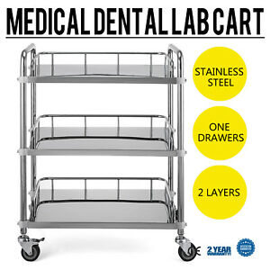 3 layer Stainless Steel Lab Medical Equipment Cart Quiet Spa Trolley Popular