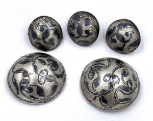 5 Antique Imperial Russian Neillo Sterling Silver Buttons 19th Century