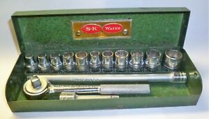Vtg S k Wayne Tools 1 4 Drive 14 Pc Socket Ratchet Set In Metal Box Made In Usa