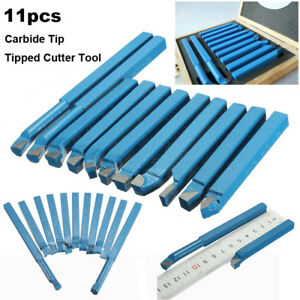 11pcs Carbide Tip Tipped Cutter Tool Bit Cutting Set For Metal Lathe Tools Kit