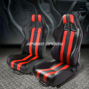 Pair Black red Dual Stripes Fully Reclinable Pvc Type r Racing Seats W sliders