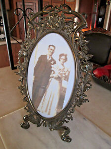 Antique Tall Cast Iron Large Oval Picture Frame Free Standing
