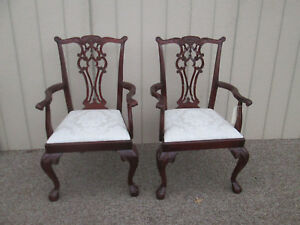 58420 Pair Quality Hickory Chair Mahogany Claw Foot Chippendale Armchair Chairs