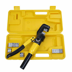 10 Ton Hydraulic Crimper Crimping Tool w 9 Dies Wire Battery Cable Lug Terminals