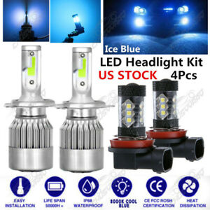 4pcs Led Headlight Fog Light Kits Cob 8000k For Toyota Tacoma 2012 2015 Ice Blue
