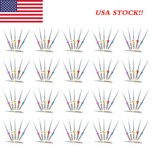 120pcs 20pack Dental Endo Niti Files Endodontic Rotary Twisted Tips Engine Mix