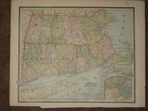 1889 Massachusetts Connecticut Ri Antique Map Geo Cram Atlas 11 X 14 Original