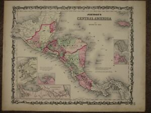 1863 Central America Panama Canal Civil War Map Johnson Geography Atlas