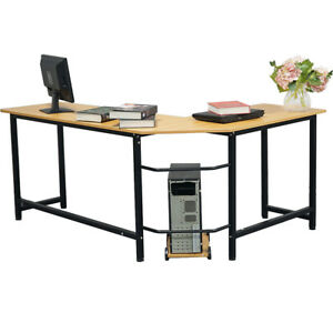 New L shape Computer Desk Pc Laptop Table Workstation Wood Home Office