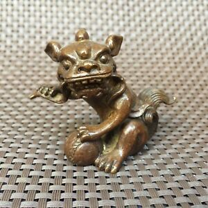 Chinese Antique Collectible Old Copper Handwork God Beast Lion Play Ball Statue