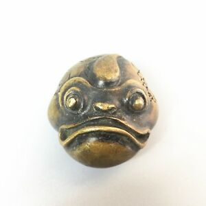 Chinese Antique Collectible Brass Handwork Wide Mouth Monsters Rare Old Statue