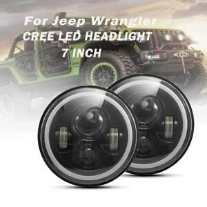 2pcs 7 Led Headlight Halo Angle Eye Drl Turn Signal Light For Jeep Wrangler