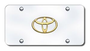 Auto Gold Toy gc License Plate Gold Toyota Logo Chrome Plate Stainless Steel