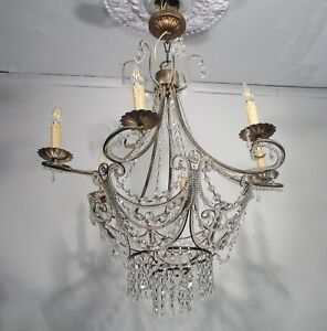 Antique Vintage Chandelier 6 Light French Beaded Crystal Fixture Lamp