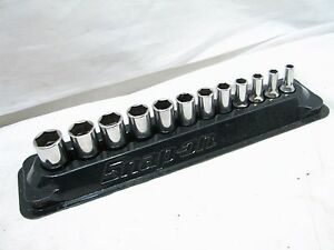 Snap On 1 4 Drive 6 Pt Metric Semi Deep Well Sockets W Magnetic Holder 5 15mm