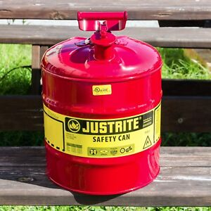 Justrite 5 Gallon Safety Gas Can great For Landscapers tree Companies homeowners