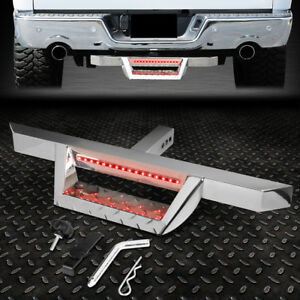 For 2 Tow Trailer Receiver Chrome Hitch Step Bar Bumper Guard W Led Brake Light