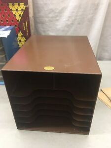 Curmanco Vintage Brown Metal Office Desk Top In Out Box 6 Tier File Folder