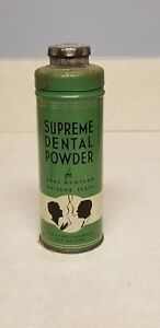 Antique Vintage Dental Supreme Dental Powder Tin 2oz Smokers Beaver Dam Wiscon