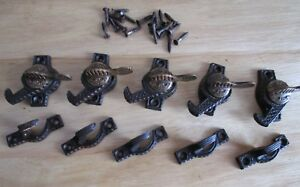 5 Antique Victorian Eagle Claw Iron Brass Window Sash Locks Pat 1894 By Ives