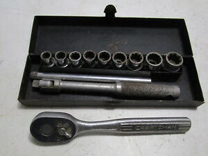 S K 1 4 Drive Socket Set With Craftsman Ratchet Made In Usa