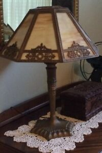 Antique 1915 Table Lamp With Carmel Slag Glass And Ornate Filagree Shade