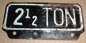 Vintage 2 1 2 Ton License Plate Topper Tag For Ford Chevy Dodge Trucks