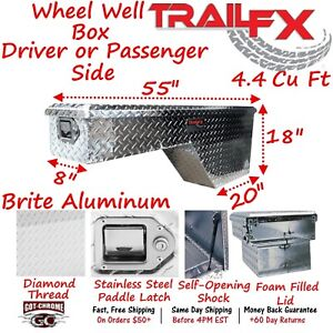180601 Trailfx 55 Polished Aluminum Wheel Well Truck Bed Tool Box
