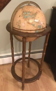 Vtg Cram S Imperial 38 Tall With 12 World Globe Mounted On Wooden Floor Stand