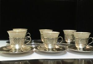 Antique 1913 Six Tiffany Co Sterling Silver Belleek Demitasse Cups And Saucers