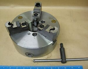 8 Bison 3 Jaw Plain Back Lathe Chuck With 2pc Jaws