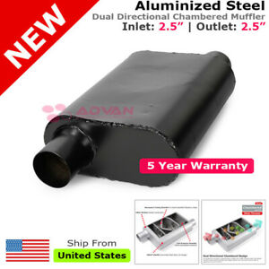 2 5inches Black Exhaust Muffler Race Car Aluminized Chambered Offset Suv 231937