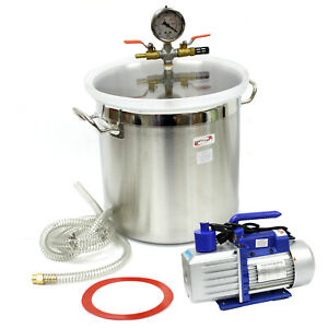 5 Gallon Vacuum Degassing Chamber Silicone Kit 5 Cfm Single Stage Pump Hose