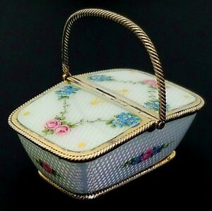 Antique Guilloche Enamel Gilt Sterling Silver Picnic Basket Form Trinket Box