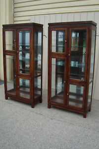 59467 Pair Cherry Lighted Curio Cabinet China Cabinets